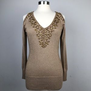 Cache Gold Glitter. Cold shoulder Top/Blouse